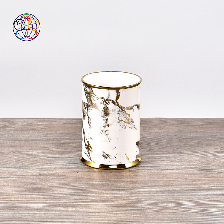 Modern cheap wholesale home decor marble candle container / wedding decoration unique luxury empty candle jars with gold rim