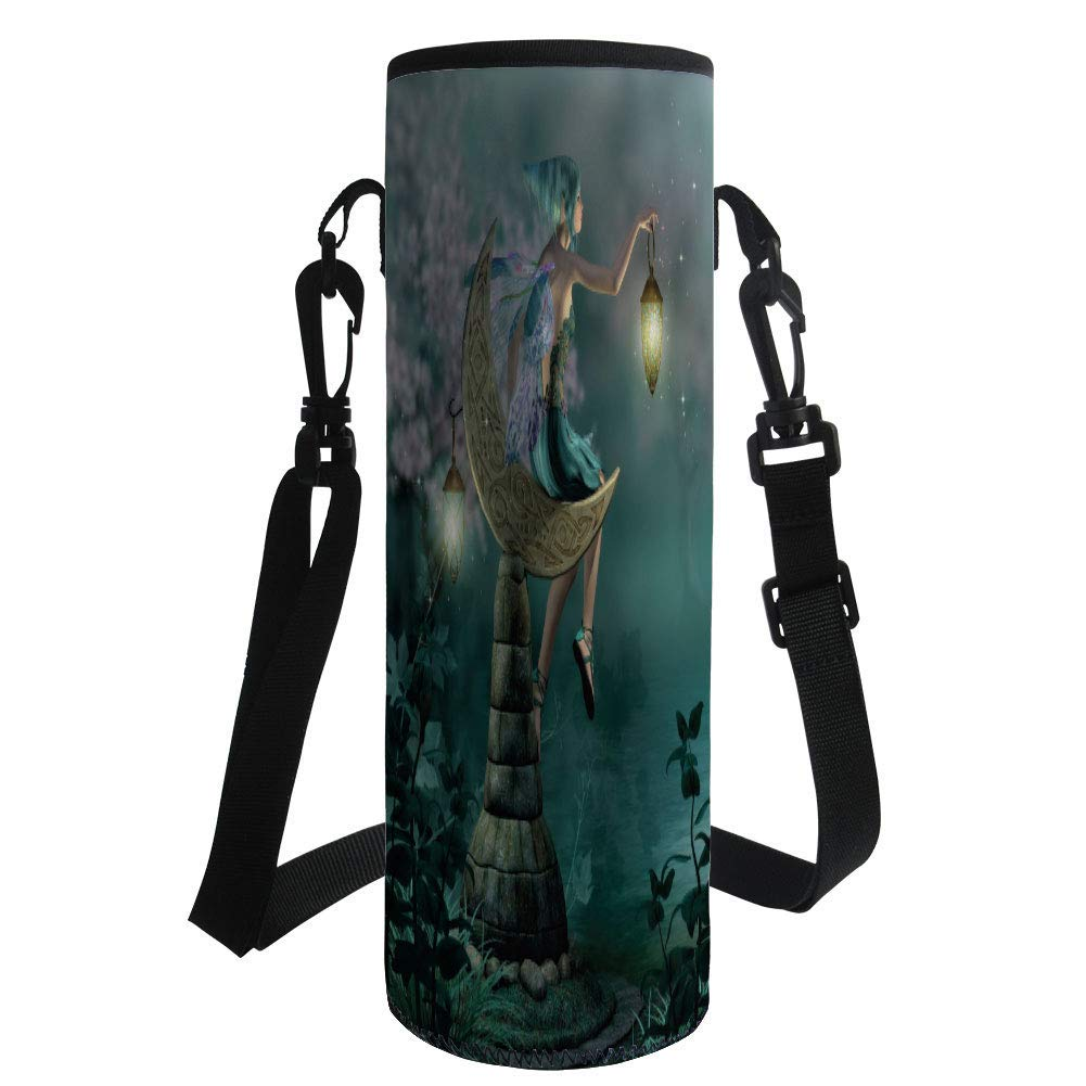 Water Bottle Sleeve Neoprene Bottle Cover,Fantasy,Little Pixie with Lantern Sitting on Moon Stone Fairytale Myth Kitsch Artwork,Gold Teal Lilac,Fit for Most of Water Bottles