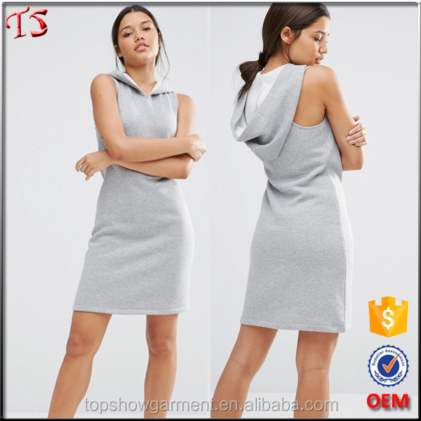 China supplier oem sleeveless short racerback tank dress with hoodie
