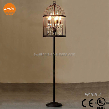 Superior Hot Seller Design Crystal Floor Lamp,birdcage Wrought Iron Floor Lamp  F6105 4