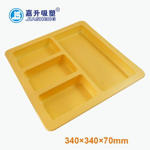 Disposable Biodegradable Plastic Divided Food Tray Lunch Tray with lid