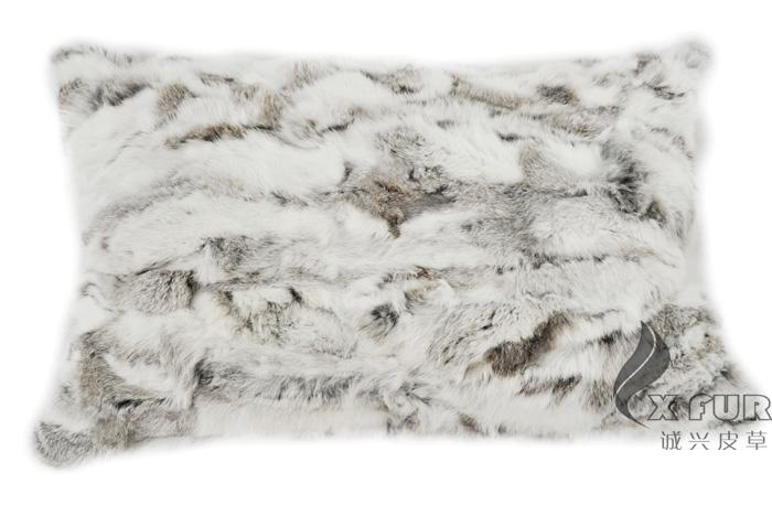 Véritable fourrure de lapin cx d 31 40x60cm housse de coussin de
