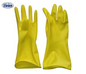 yellow spray lined latex household gloves, rubber gloves wash gloves