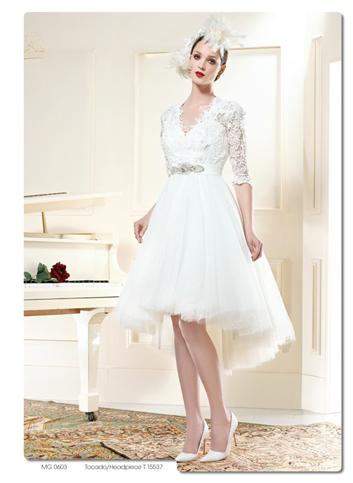 Get Quotations · New Arrival 2015 Short Lace Tulle High Low Wedding Dresses  Half Sleeve A-Line White Bride 13b4aa01a083