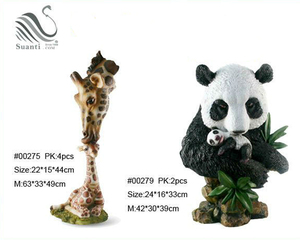 Hot Selling High Quality Polyresin Brown Giraffe & Black Panda for Home &Garden