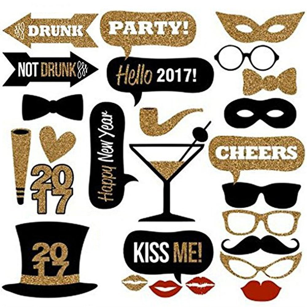 Buy 26 Piece Diy Kit Party Photo Booth Props Photobooth Masks For Wedding Party Reunions Birthdays Photobooth Dress Up Accessories Party Favors Costumes With Hat Red Lips Glasses Decoration In Cheap Price
