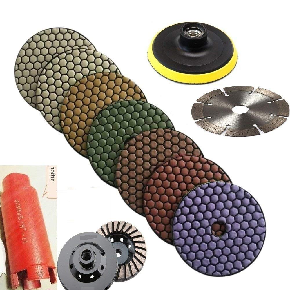 """5"""" Diamond DRY Polishing Pad 7+1 & 1-3/8 Inch core bit sink hole cutter & 5"""" grinding cup cutting blade for stone concrete granite terrazzo masonry cement block sanding grinder"""