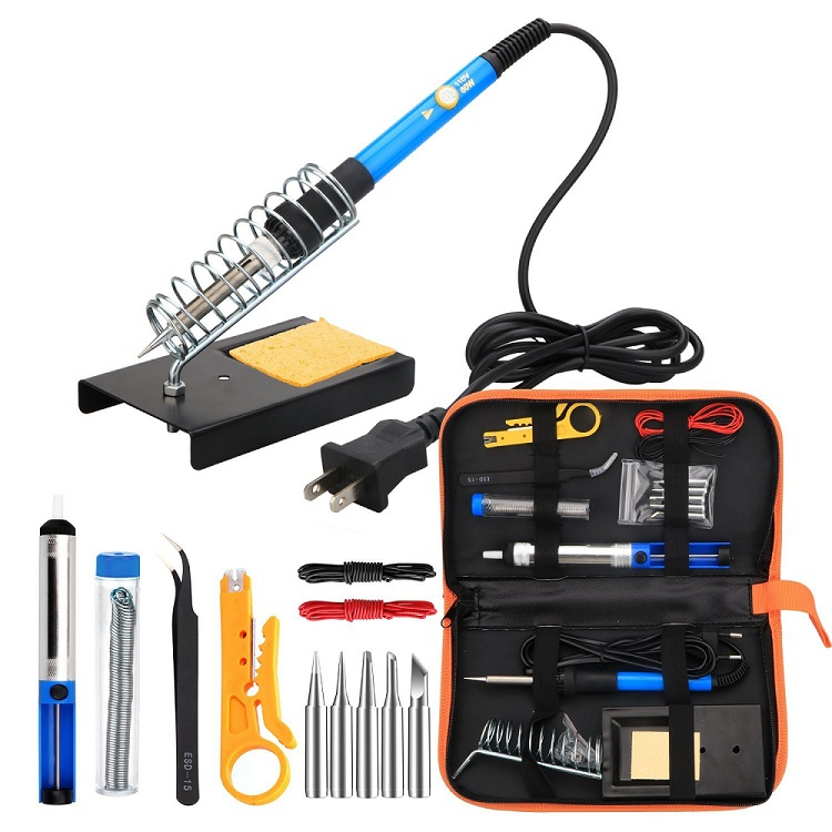 Desoldering Pump Adjustable Temperature Welding Tool Kit Electric Soldering Iron Kit 60W Full Set With Soldering Tips