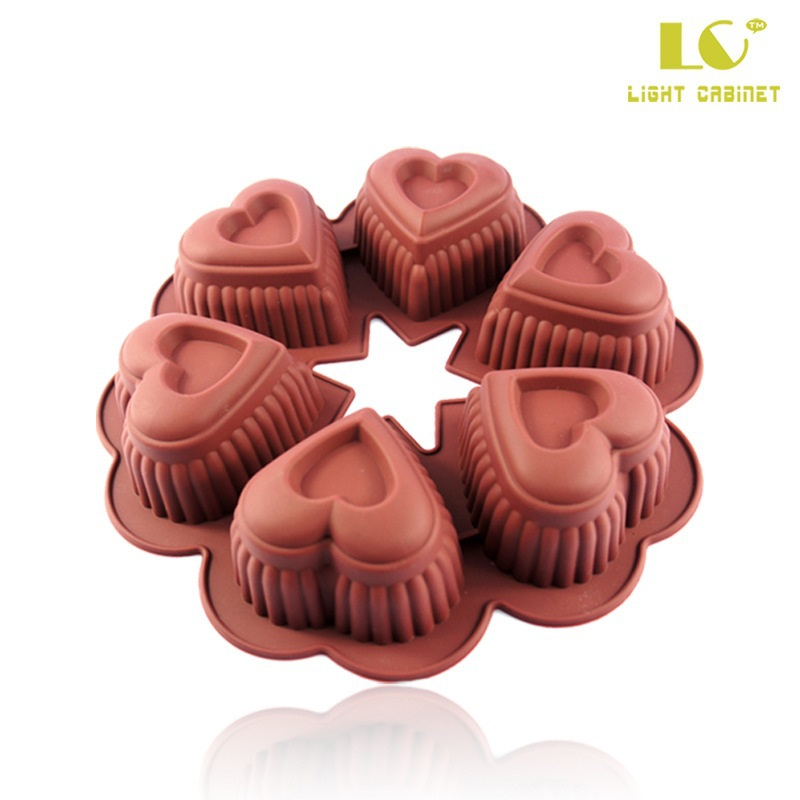 Get Quotations Heart Shaped Cake Pans 6 Cavities Flower Baking Silicone Pan Mold Diy Ice Lattice