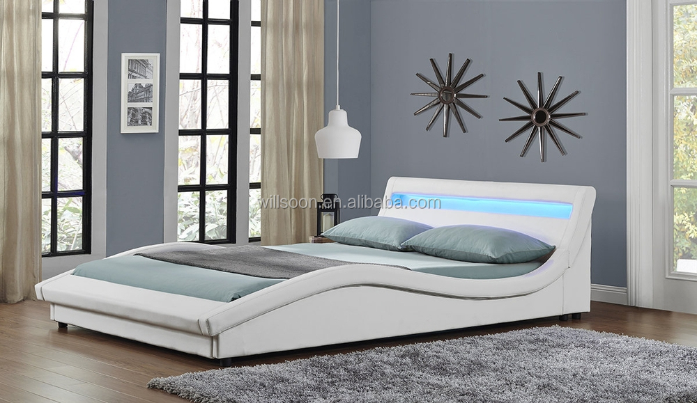 Latest Modern Double Size Upholstered Synthetic Leather Led Bed