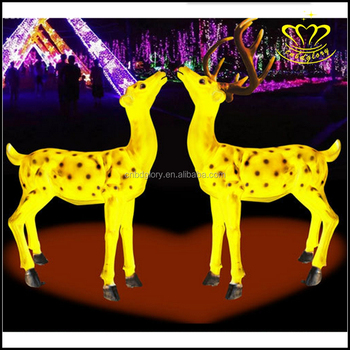 Hot Sell Beautiful Fiberglass Resin Led Light Deer Sculpture For Night Lights Decor
