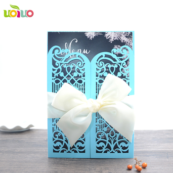 Free Logo Laser Cut Handmade Paper Quilling Wedding Invitation Cards
