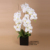 Large size real touch artificial flower white orchids with ceramic pot