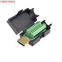 HDMI 19PIN male plug connector to terminal adapter with black shell wire cable free solder 19 pin