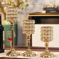 Indoor new style european golden crystal candlestick use for party and dinner