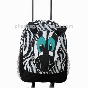 a96c5b8d4df7 600D черный белый с принтом зебры лицо школьные сумки тележки школьный  рюкзак для детей