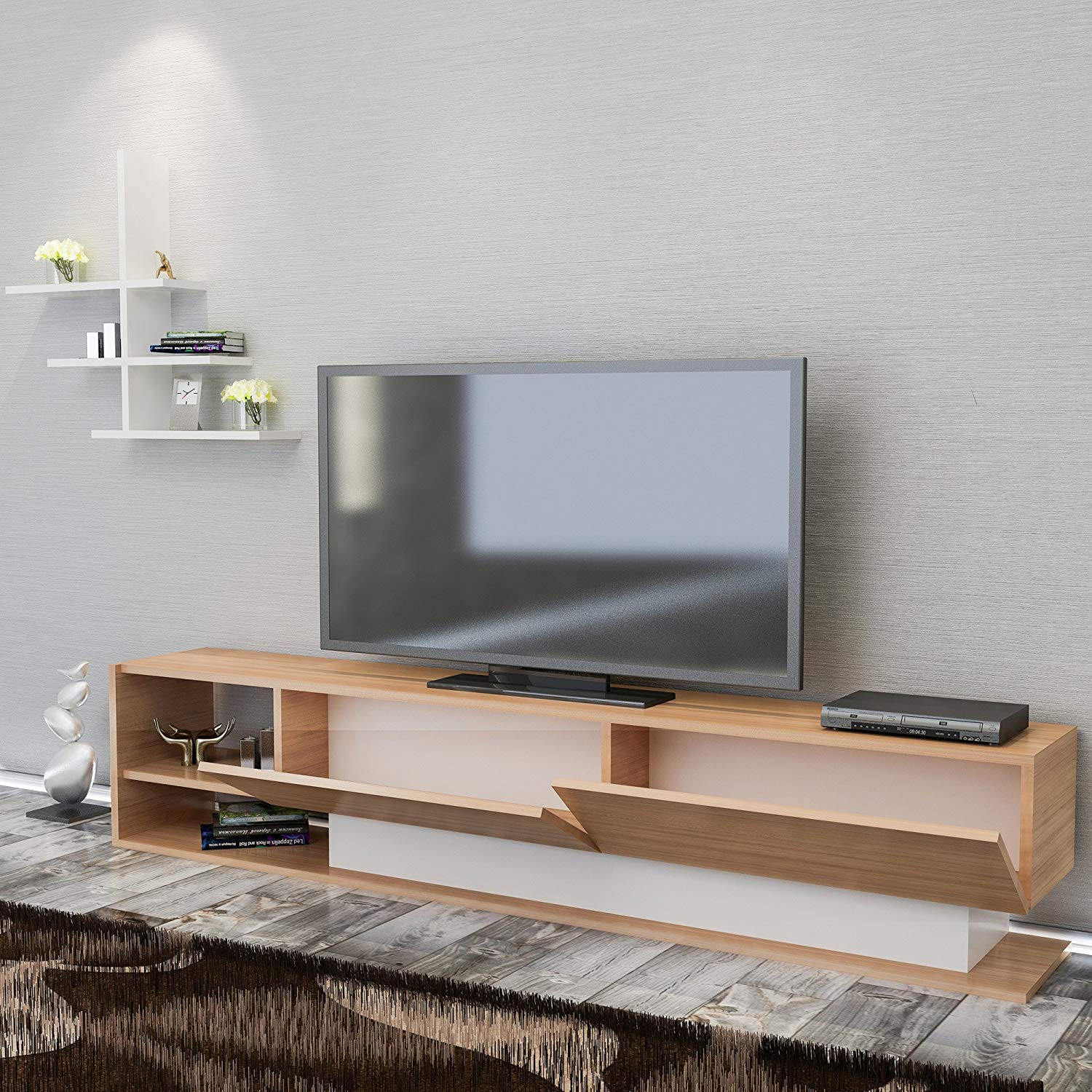 Ordinaire Get Quotations · LaModaHome Tv Stand Unit   Brown White Living Room Simple  Functional Elegant Stand Storage Multi Function