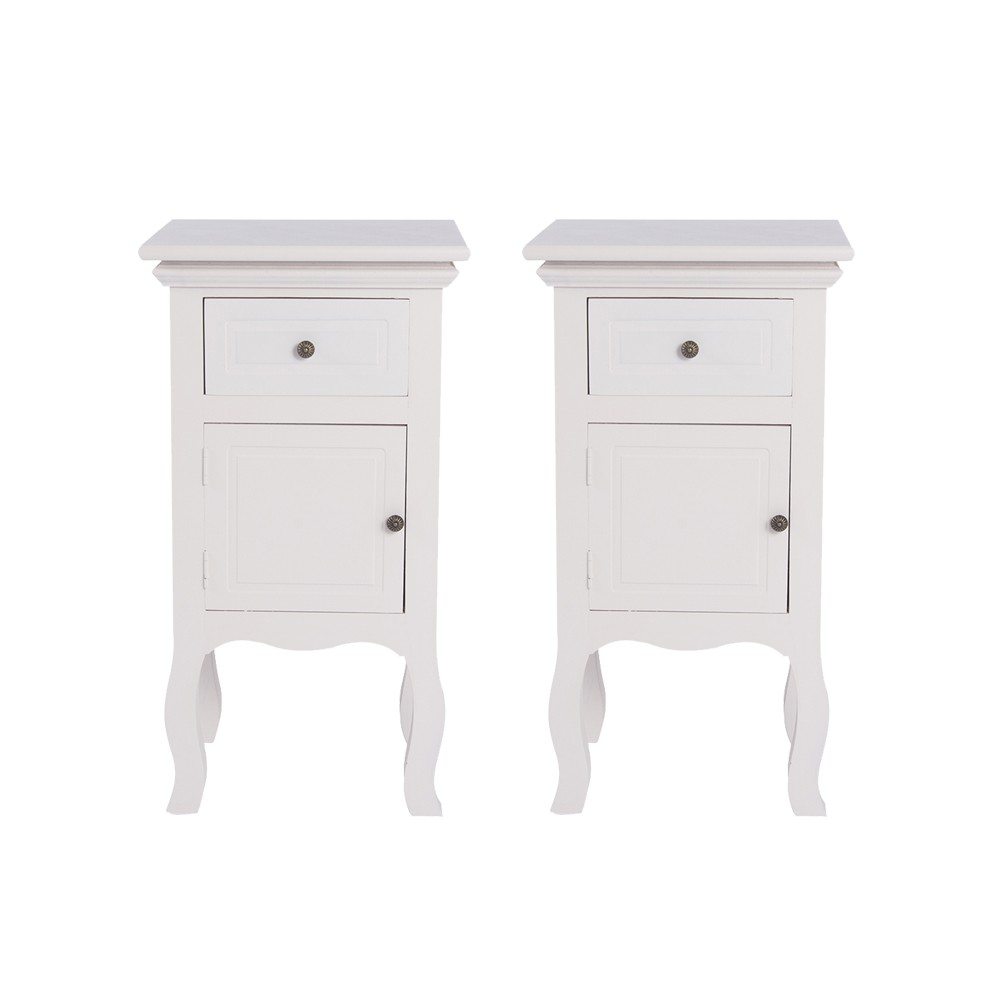 wholesale 2x french vintage white bedside table cabinet chest of