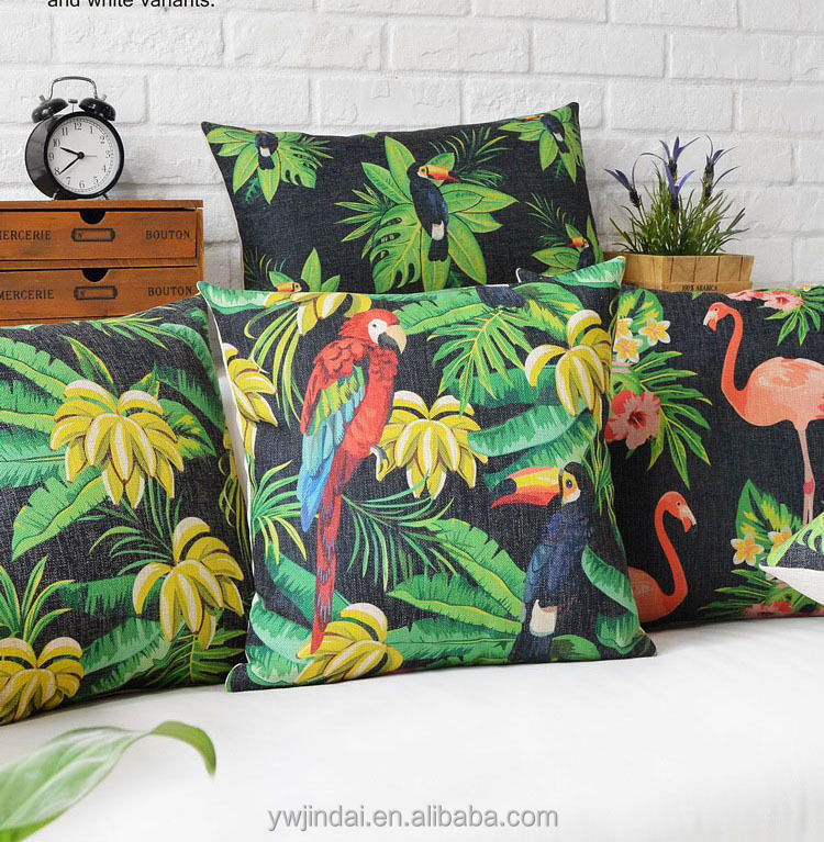 Flamingo Birds Parrot Cushion Cover Tropical Leaves Animal Pattern Cushion Green Decorative Throw Pillow Case Beautiful Covers