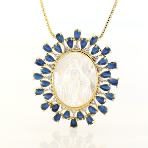 2018 Womens Fashion Jewelry Factory Price Blue Zircon Virgen Necklace For Charming Lady