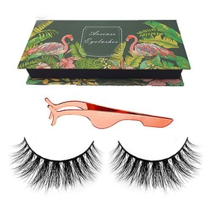 Personalized 5 Pair Vendor Flare Adhesive Strip Synthetic Vegan Faux Mink 3D Silk Lashes With Tweezer