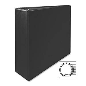 "03602 Sparco Vinyl Ring Binder - 3"" Binder Capacity - Letter - 8.50"" Width x 11"" Length Sheet Size - 3 x Round Ring Fastener - 2 Pockets - Vinyl - Black - 1 Each"
