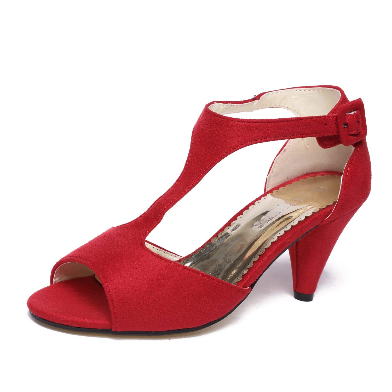 f8af970a5db Get Quotations · GATUXUS Women Open Toe Ankle T-Strap Kitten Heel Mary Jane  Shoes Mid Heel Sandals