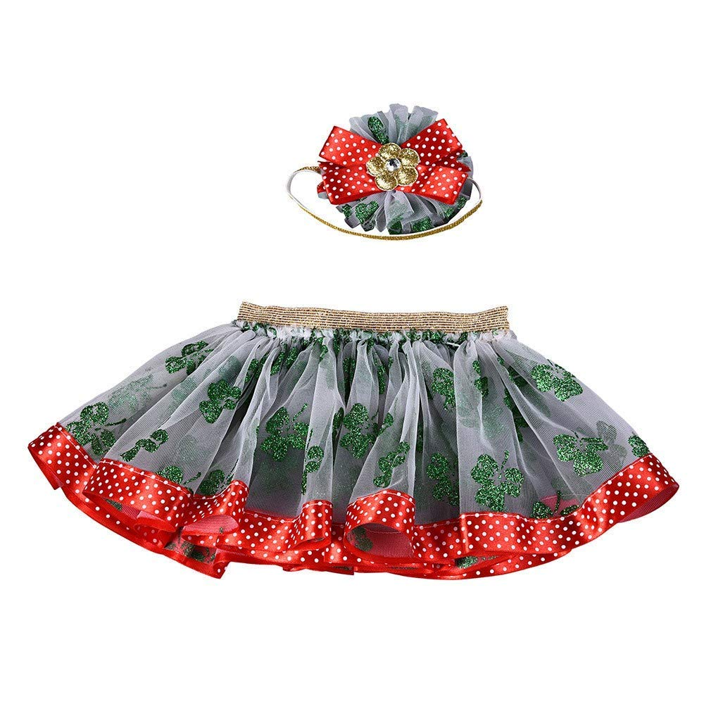 Suma-ma Christmas Tutu Ballet Skirts Fancy Party Skirt + Headband 2PCS Set for Baby Girls Kids (5 Years, Green)