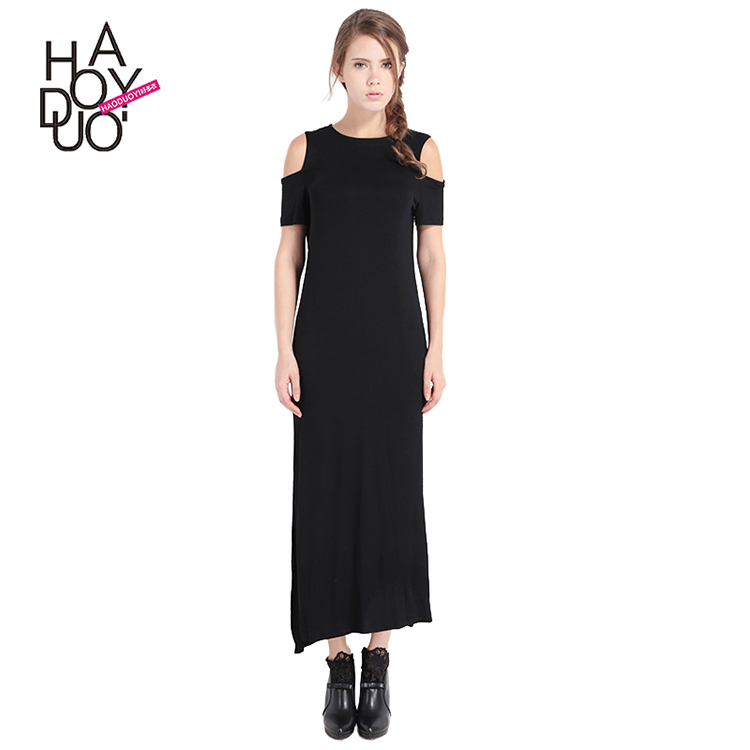 HAODUOYI Frauen Sexy Schwarz Cold Shoulder Slit Side Kleid