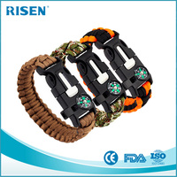 fire starter emergency whistle compass paracord survival bracelet