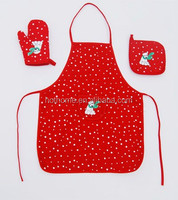 3 In 1 Hot sell Poinsettia Apron Cooking Kitchen Textiles Uniform Apron Sets
