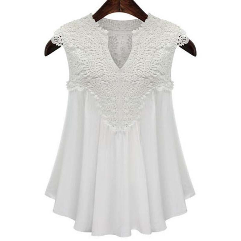 b8d4fb3fbf17f Buy 5XL! White Lace Chiffon Blouse Sleeveless Women Blouses Summer Womens  Tops Fashion 2015 Plus Size Casual Shirts in Cheap Price on m.alibaba.com