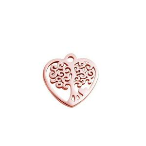 Rose gold color heart family tree charm for bracelet and necklace