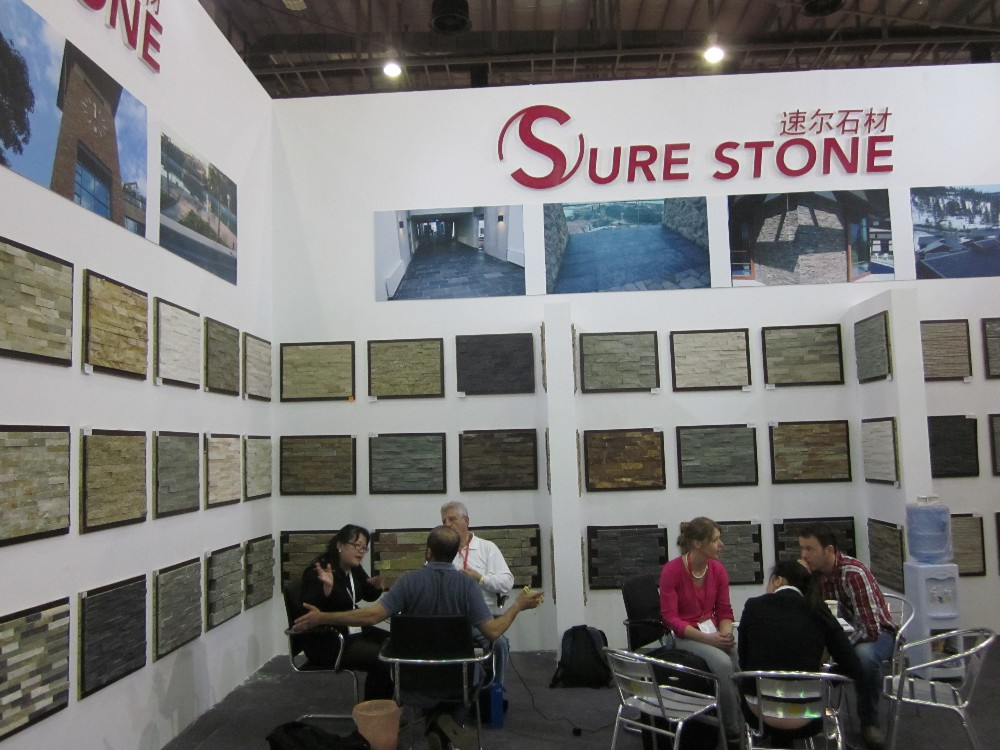 Black Slate outdoor tiles/stack stone mesh tile/ledge stone wall tile