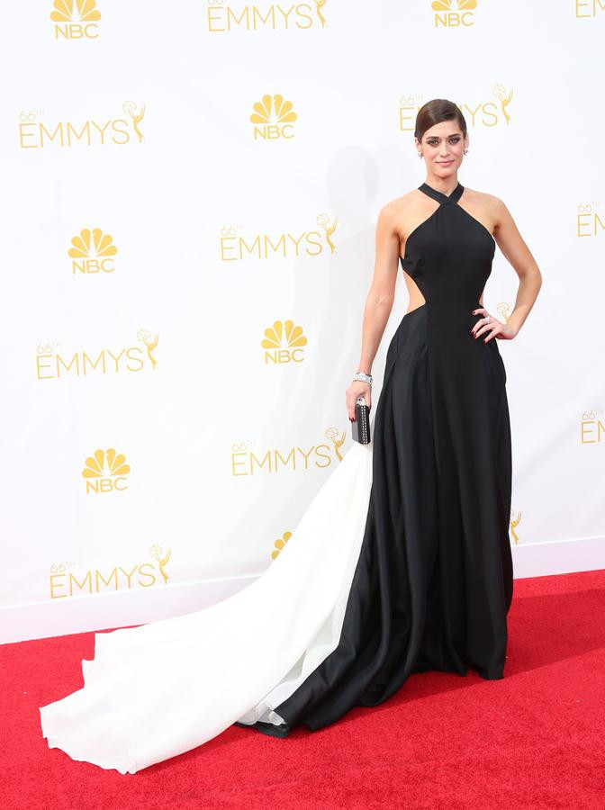 3a31590dde Get Quotations · Lizzy Caplan s Red Carpet Dresses 2015 A-line Halter Floor  Length Black White Open Back