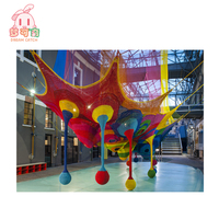 Attractive kids indoor exercise playground equipment rope nets crocheted playground rainbow climbing net