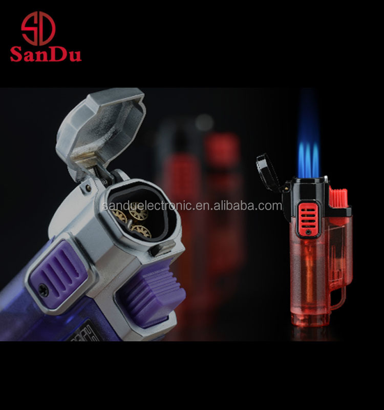 cheapest engraved triple jet flame bbq torch lighters with cigar knife patrts