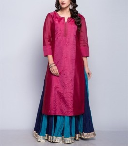 Latest Long Kurti Designs Punjabi Girls In Suit Silk Cotton Sarees HSK2038