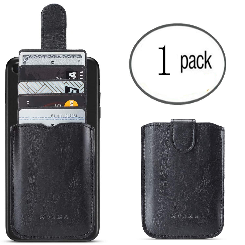 Phone Credit/ID/ Business Card Holder RFID Slim Adhesive Stick-on Card Holder Pocket/Wallet for iPhone Card Holder/Pocket for Back of Phone Galaxy Note 9/ Note 8 (Black)