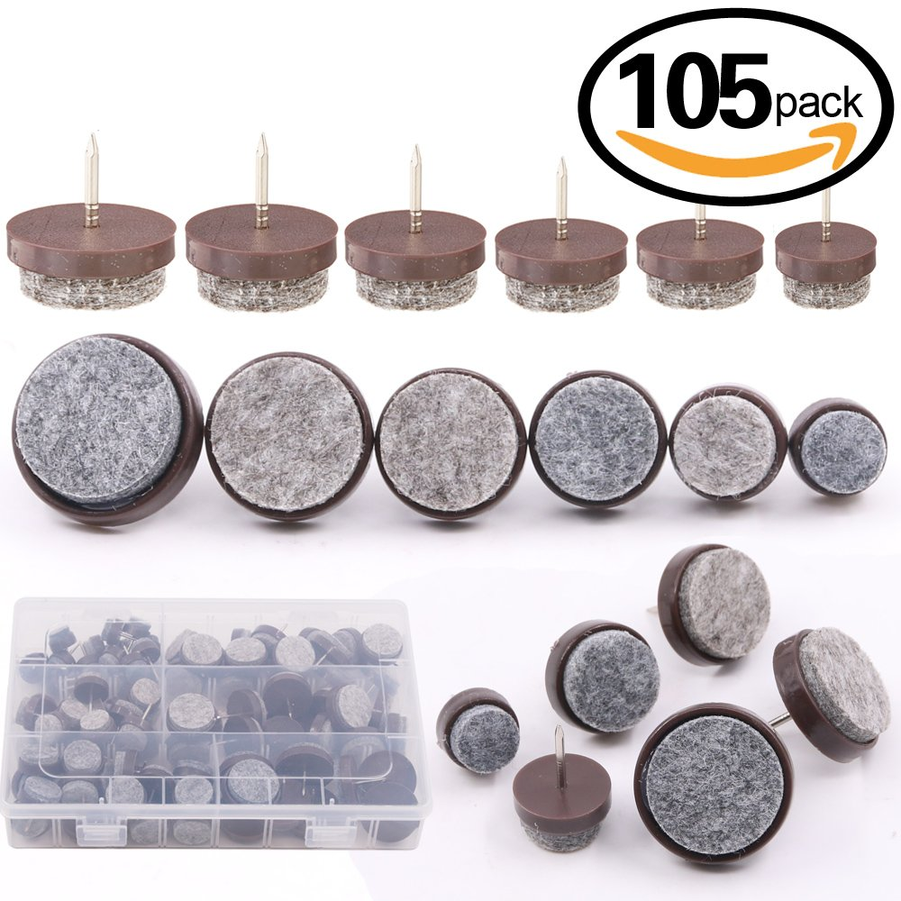 Glarks 105Pcs 6 Size Brown Heavy Duty Nail-on Anti-Sliding Felt Pads for Furniture Chairs Stools Tables Leg Feet - 14mm / 17mm / 20mm / 22mm / 24mm / 28mm