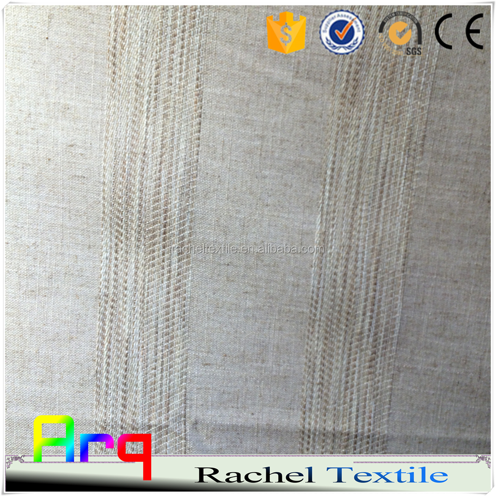 Linen Polyester Blend Stripe Curtain Design Light Color French Style Fabric