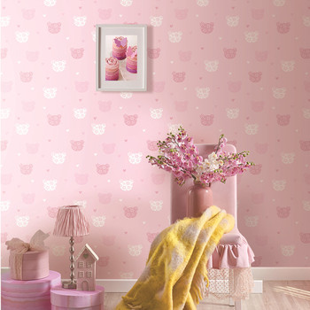 Pink Lovely Design Non Woven Bedroom Wallpaper For Girls