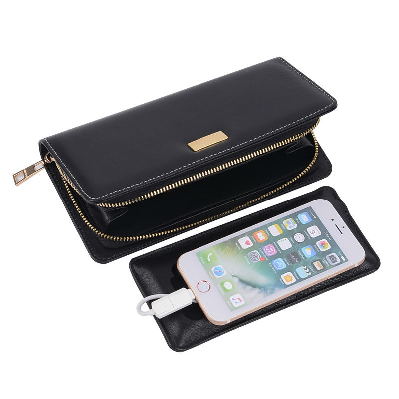 Multifunction Long Wallet with 6000 mAh Power Bank Handbags Men Wallets Novel Gift Durable Women Wallets Customized