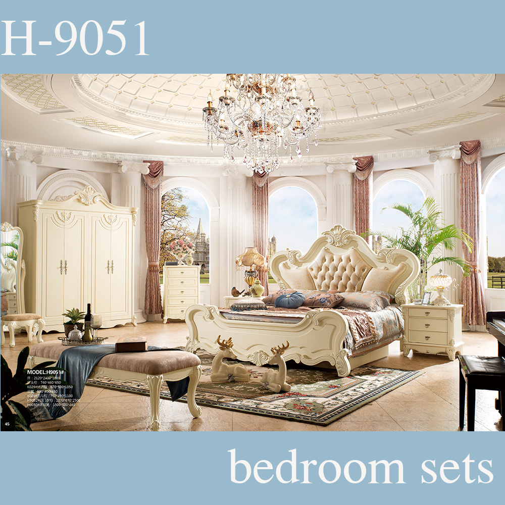 Luxury Royal Style Hand-carved Used Bedroom Furniture Sets, genuine leather bed