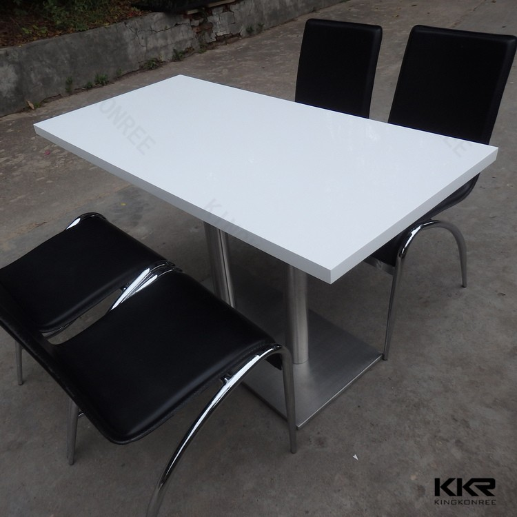 Artificial Marble Table And Chairs For Starbucks ,4 6 Seats Rectangle Fast  Restaurant Table