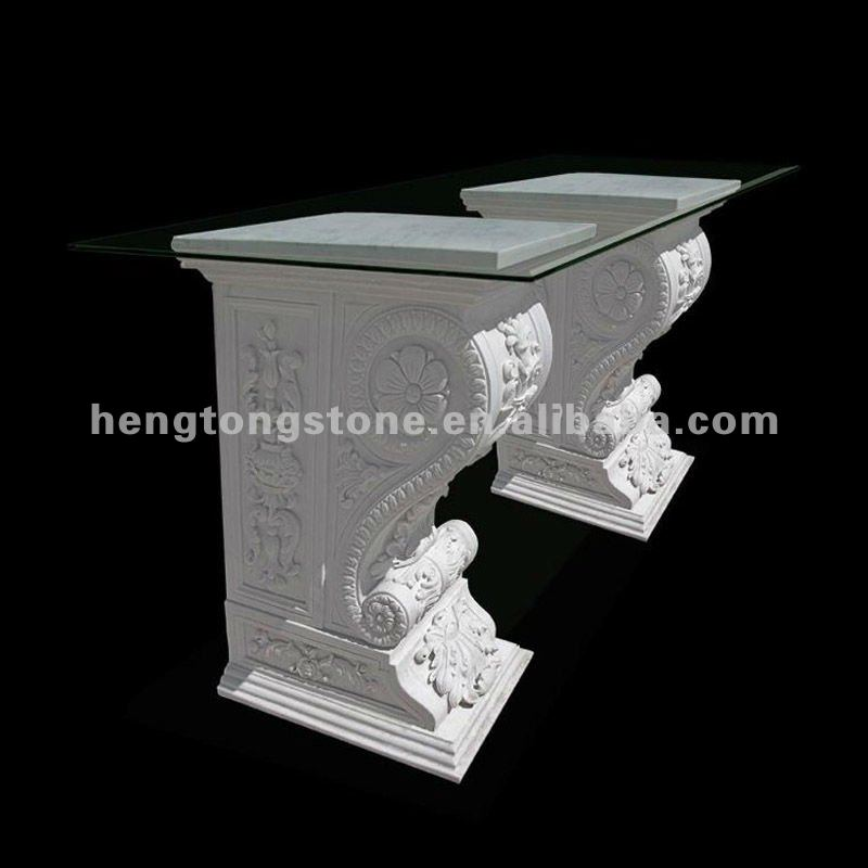 White Marble Table Base With Glass Top