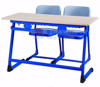 Educational Furniture Classroom Plastic Double Desk and Chair