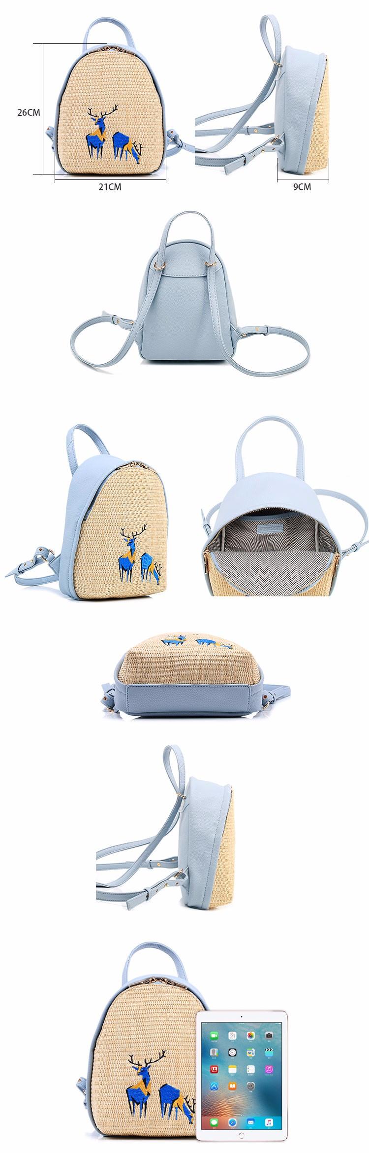 design straw fashion deer print dry bag student backpack brands