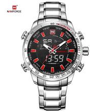 Часы NAVIFORCE мужские, спортивные, цифровые, аналоговые из нержавеющей стали(Китай)