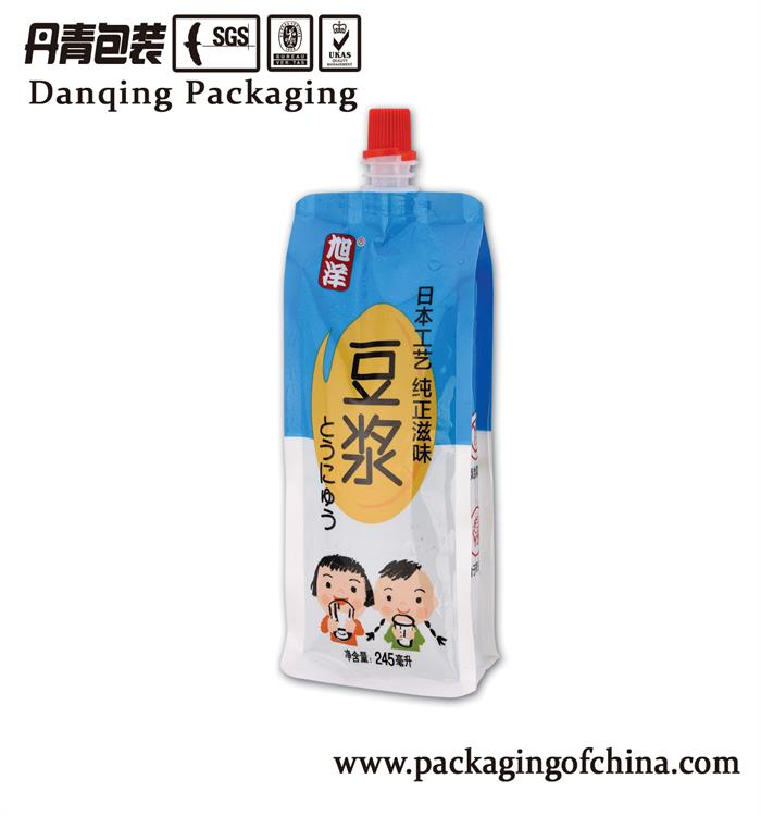 China suppliers soybean milk stand up pouch with spout